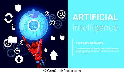 Artificial Intelligence Modern Robot Brain Technology Flat...