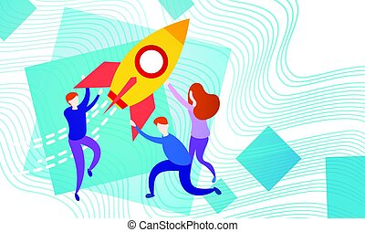 Business People With Space Ship New Startup Idea Development...
