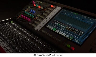 A close-up of a mixer. Mixing console. Professional...