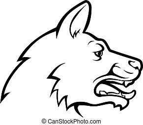 Dog Face Icon - An illustration of a dog head or face in...
