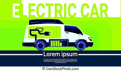 Electrical Car At Charging Station Eco Friendly Vehicle In...
