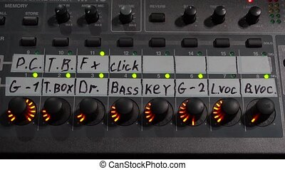 Mixing console. Professional equipment for sound processing...