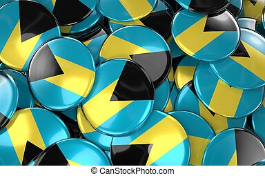 Bahamas Badges Background - Pile of Bahamian Flag Buttons....