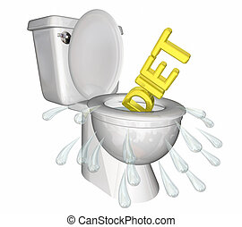 Diet Flushing Down Toilet Lose Weight Fitness 3d Illustration