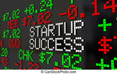 Startup Success New Compnay IPO Stock Market Ticker 3d Illustration
