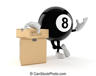 Eight ball character with stack of boxes