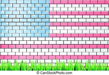 American flag on a brick wall white light
