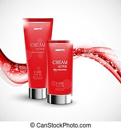 Skin moisturizer cosmetic design template with two red...