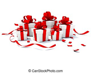 Presents with red ribbons isolated on white