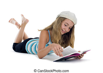 blond teenager reading a book, isolated on white background
