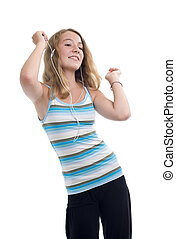 teenager with mp3 player dancing - blonde teeny with mp3...