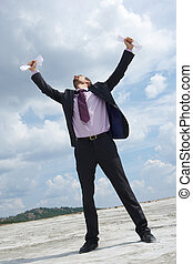 Why? - Photo of crying businessman standing and raising his...
