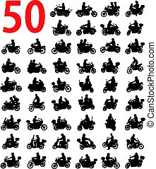 big collection of motorcyclist silhouettes - vector