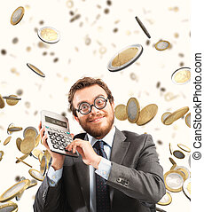 Growth exponential gain - Financial businessman astonished...