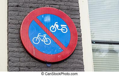 摩托車, 簽署,  bicycles, 禁止, 停車處, 路