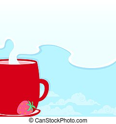 Morning cup with a hot drink on the background of a fresh...