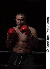 professional kickboxer in the training ring - professional...