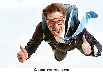 Greatness - Conceptual image of happy man flying with...