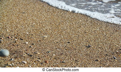 wave of sea on the sandy beach - wave of the sea on the...