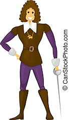 Young cheerful cardboard prince on a white background. Young prince with a sword in boots. Abstract vector illustration