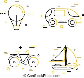 Set of color creative flat linear travel icons. Vector...