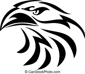 Black graphic drawing of an eagle head on a white background. Abstract bird with a beak. Vector illustration