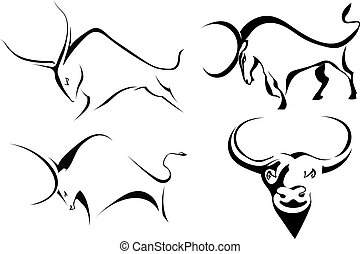Set of bulls. Abstract stylized buffalo on a white background. Vector illustration