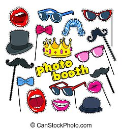 Photo Booth Props with Lips, Hat and Eyeglasses. Party...