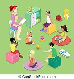 Kindergarden Interior with Children. Preschool Inside....