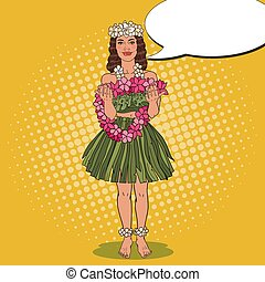 Hawaiian Girl with Traditional Tropical Flower Necklace. Pop...