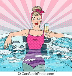 Beautiful Woman Drinking Champagne in Jacuzzi. Pop Art...