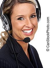 Call center woman - Beautiful business woman with headset...