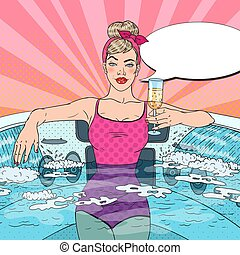 Woman Drinking Champagne and Relaxing in Jacuzzi. Pop Art...