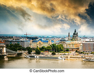 picturesque view on Budapest - picturesque view at sunset on...