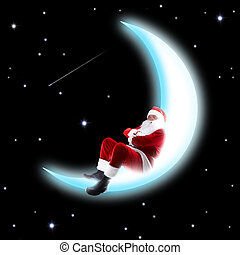 Moon sleep - Photo of Santa Claus sleeping on shiny moon...
