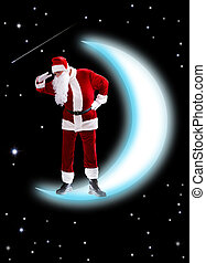 Curiosity - Photo of Santa Claus on shiny moon looking...