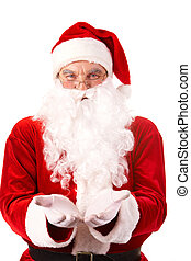 Santa Claus - Photo of happy Santa Claus with open palms...
