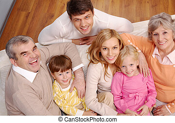 Big family - Portrait of senior and young couples and...