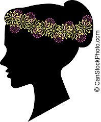 Woman silhouette, floral hairstyle for your design