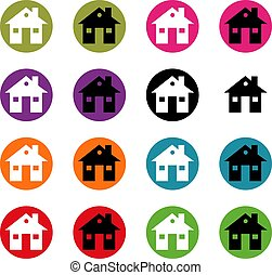 Set button house icons for your design