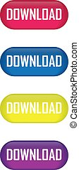 Set of glossy button download icons for your design.