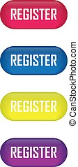Set of glossy button register icons for your design
