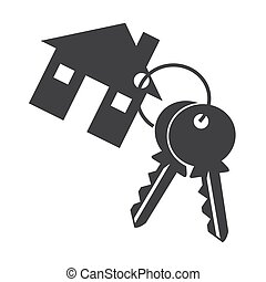 House key ison silhouette on white background