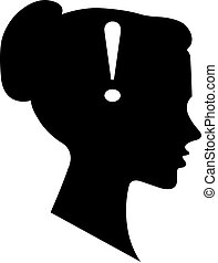 The exclamation mark business icon with female face