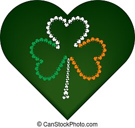 St. Patrick's day symbol, green heart with irish flag attributes