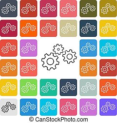 Vector modern gear setting icon set in button