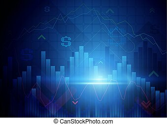 Blue abstract Stock Market concept background