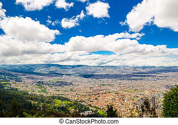 Cityscape of Bogota from Monserrate in Colombia