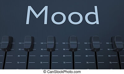 Multiple sliding faders on a panel with mood inscription....