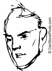 vector sketch adult serious man - Black and white vector...